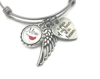 Memorial Jewelry, Cardinal Heaven, Cardinal Memorial Bracelet for Loss of Mom, Sympathy Gift, A Piece of My Heart is in Heaven, Angel Wing,