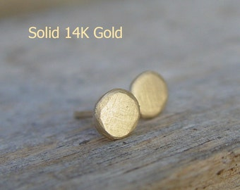 14k Gold Studs, Tiny 14k Gold Studs, Solid Gold Earrings, Gold Stud Earrings, Gold Circles Studs, Small Gold Earrings, Gold Stud Earring,