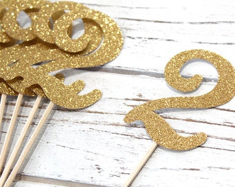 Gold or Silver Glitter Number Cupcake Toppers - Set of 12