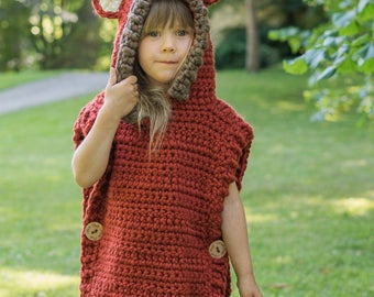 Fox hooded poncho (4-7-y-o size)