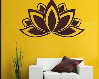 lotus Wall Decal Sticker Buddhist symbol lotus lower Sticker bedroom yoga Spiritual Decal Yoga Decal Flower Wall Art kik2969
