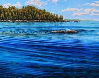 "Landscape Art Print - ""Sentinel"", Limited Edition Giclee Print on Fine Art Paper of  a lake scene, 12"" x 16"""