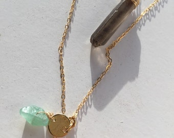 Long Two-Tiered 14k Gold Filled Necklace with Smokey Raw Crystal Quartz Point, Adventurine, and White Feather