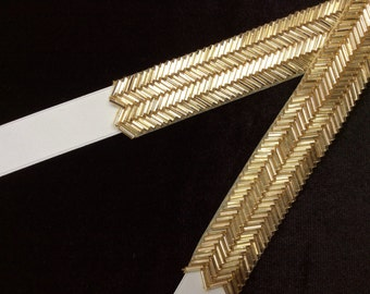 Bridal Belt, Gold Wedding Sash, Thin Gold Belt. Gold Beaded Belt, Gold Bridal Sash, Gold Bridesmaid Belt, Best Friend Bridal 187G