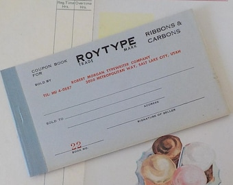 Vintage Coupon Books / for Roytype Trade Mark Ribbons & Carbons / Two Items / Altered Art / DIY