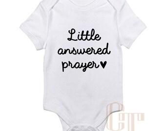 Little Answered Prayer Custom Baby Onesie Girl Boy Unisex Infant Short Long Sleeve Shower Birthday Newborn Gift Bodysuit Personalize