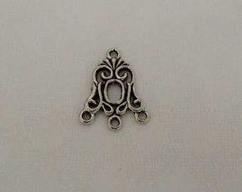 Silver metal connector antiqued 24 x 18 mm for jewelry making