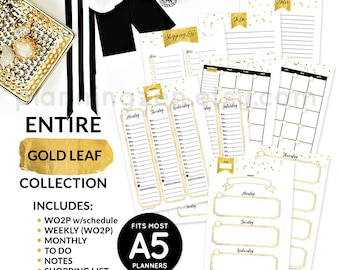 Gold Printable A5 Planner Inserts Collection | Digital Planner Inserts | Large KikkiK Inserts | Printable Daily Calendar