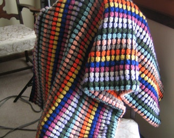 Stained Glass Rainbow Crochet Lap Blanket