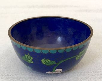 1900s Chinese Antiques Brass & Enamel Cloisonne Blue Floral  Bowl