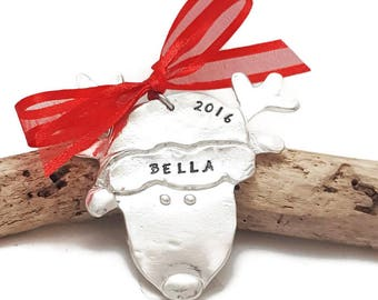 Reindeer Christmas Ornament - Rudolph ornament - Personalized hand stamped Christmas ornament - Custom Name ornament - Family ornament