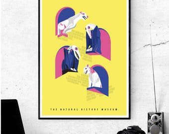 Gargoyles of the Natural History Museum - Illustrated poster print. Matte or Giclee Art Prints in A3 or A2 sizes. Wall Art, London Prints