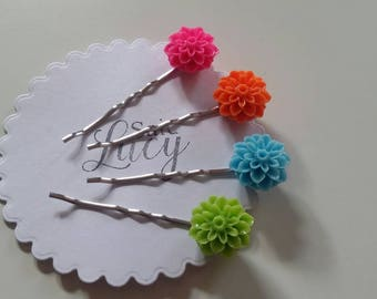 Bright flower hair clips. Spring summer holiday hair bobby pins gift