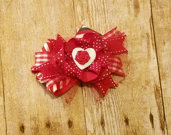 Red hair clip, red bow, Valentine's Day barrette, red and white hair clip, red barrette