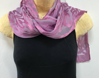 Devore Silk and Rayon Scarf, Hand Dyed, Purple over Lilac