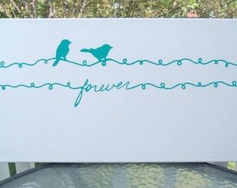 Forever, Canvas Wall Art,  Birds on a wire, Home Decor, Modern Wall Art, Housewares, Teal, Blue