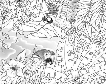 Paradise Parrots - Printable Adult Coloring Page from Favoreads (Coloring book pages for adults and kids, Coloring sheets, Coloring designs)