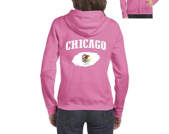 Chicago Illinois Women Full-Zip Hooded Sweatshirt