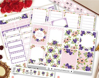 Purple & Pink Floral Vertical Kit Planner Stickers | Weekly Kit Stickers | Floral Wreath Stickers