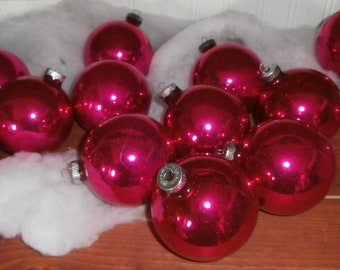 Vintage Christmas ornaments mercury glass hot pink Shiny Brite decorations lot 14 3 1/4 inch