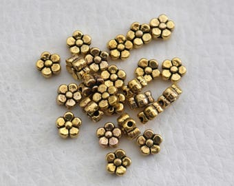 Set of 10 spacer beads charm gold plated flower shape