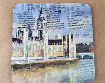 London Coaster - Big Ben and River Thames artist collage