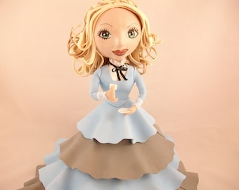 Collectible doll, Fofucha with wide ruffle dress - 38 cm