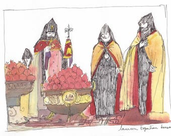 Original watercolor with frame- Etchmiadzin POMEGRANATES- POMEGRANATES Blessing-Armenian cathedral-Armenia painting-armenian liturgy