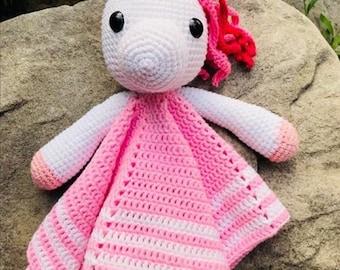 Crochet Lovey Unicorn Comfort Doll