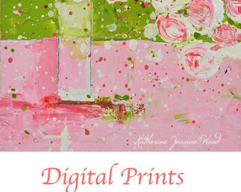 Pink Roses Flower Painting Print. Cottage Chic Decor. Still Life Floral Art Digital Prints. No 173