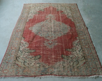 6'5''x9'4'' Large Area Rug, Turkish Oushak Rug, Bohemian Rug