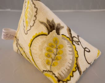 iPhone Stand / Samsung Beanie / Android Pillow / Smart Phone Cushion- Yellow/Grey Leaf Design