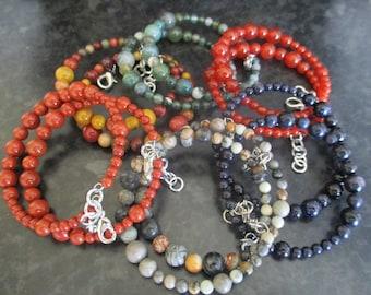 Gemstone Bead Memory Wire Bracelets