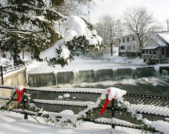 "Chagrin Falls Waterfalls 8""x10""//11x14"" Metallic Print//Chagrin Falls Photography/Winter Photography/ Chagrin Falls/ Ohio Photography"