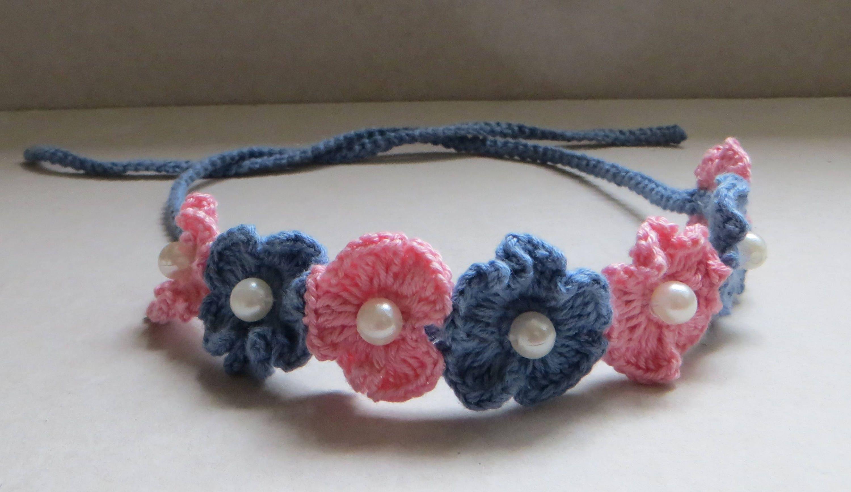 Einfach häkeln Stirnband mit Perlen Geschenk für Baby Häkeln