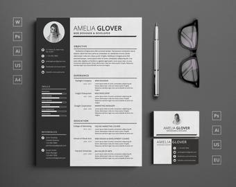 Illustrator etsy single page modern resume template with cover letter and matching business card instant download cheaphphosting Choice Image