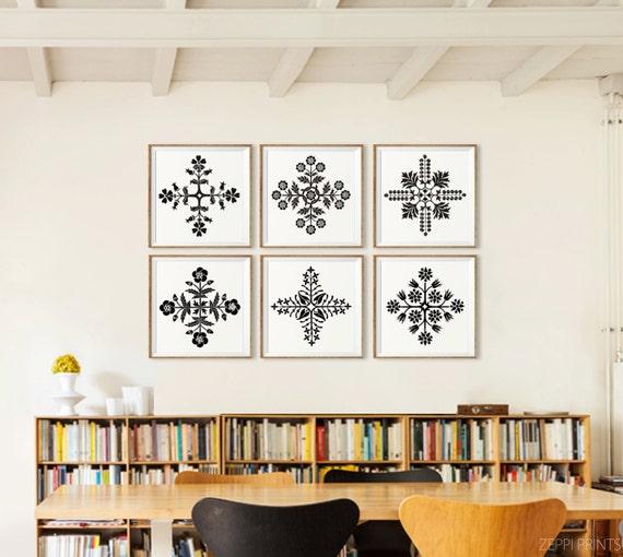 Black white art prints set of 6 flower modern wall decor