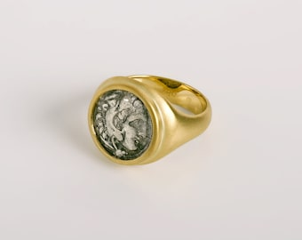 Alexander the Great coin ring, Hellenistic Silver coin 18k yellow gold, mens antique ring, authentic greek coin, Male Ring Size 10, Berman