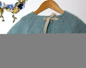 aqua blue merino wool cardigan