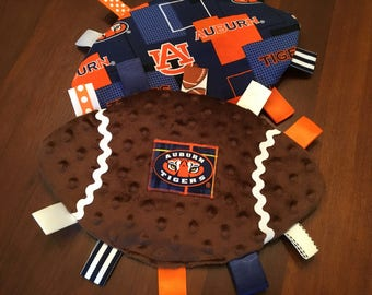 Auburn Baby Football Crinkly Toy, teether, grab toy, stroller toy, baby lovey, sensory toy, sports toy, baby,pacifier holder