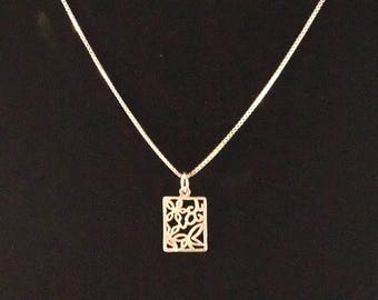 GM 925 Sterling Silver Box Link Necklace with 925 Sterling Silver Floral Design Pendant