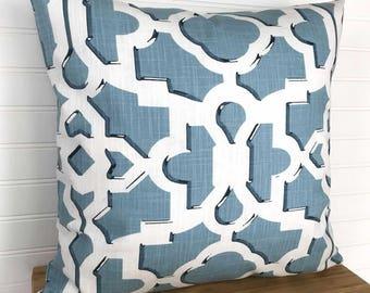 Blue Geometric Pillow Cover, Blue Throw Pillow, Blue and White Pillow Cover, 18x18 Pillow, Blue Geometric Cushion, Aqua Pillow Cover