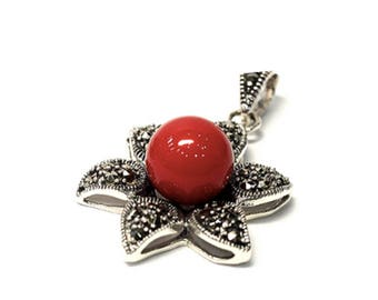 Stylish Handmade Poppy Pendant W/ Silver Necklace Red