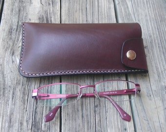 Leather eyeglass case, Handmade, hand stitched, genuine, brown, glasses