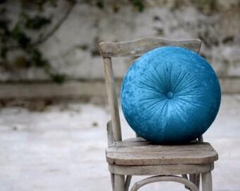 """Teal Blue Velvet Round Pillow 16"""""""