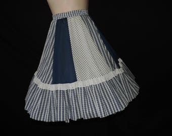 navy ruffle swing skirt 70s lace dotted square dance circle rockmount ranch dolly country western medium large