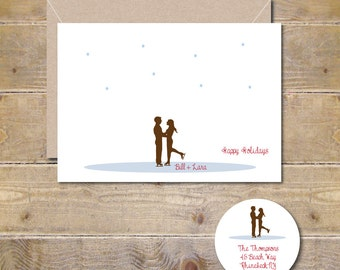 Christmas Cards, Holiday Cards, Christmas Card Set, Holiday Card Set, Wedding Thank You Cards, Ice skating, Snowflakes