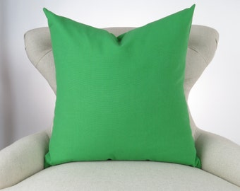 Throw Pillow Cover, Decorative Cushion, Euro Sham, Accent, Plain Pillow, Solid Color -MANY SIZES- Organic Green, Kelly Green, Premier Prints