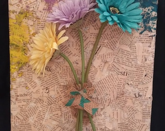 3D Daisy and Papier Mache Canvas (11x14)