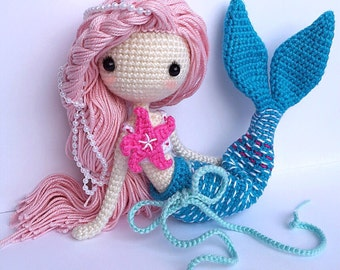 English: Crochet Doll Pattern-Mermaid-Ava艾娃. (A crochet doll with 2 look, mermaid or little girl)